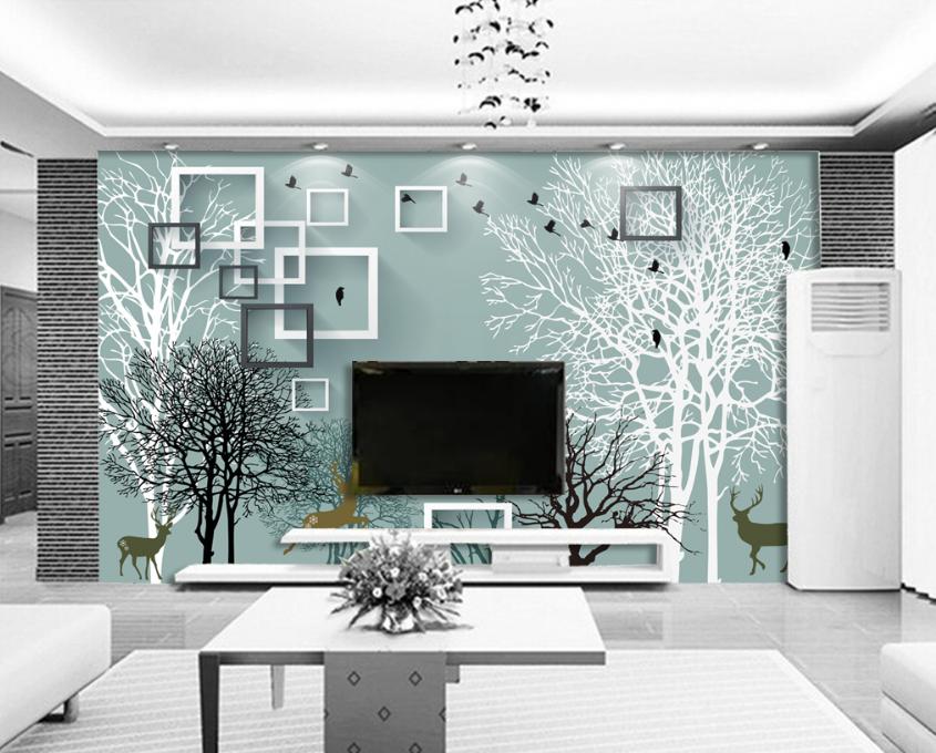 3d Tree Deer Frame 7 Wallpaper Mural Wallpaper Wallpaper Picture Family De été