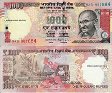 INDIA 2016 1000 RS Tactile Mark Novel Number R Inset Paper Money Note UNC NEW