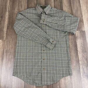 Orvis-Signature-Wool-Blend-Button-Front-Shirt-Mens-Small-Long-Sleeve-Beige