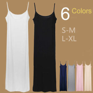 Stretchy-Bandage-Fitted-Soft-Extra-Long-Spaghetti-Strap-Cami-Tank-Slip-Dress