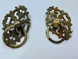 Victorian drawer handles ORNATE lot of 2 Cast Brass Antique Salvage ring Pulls