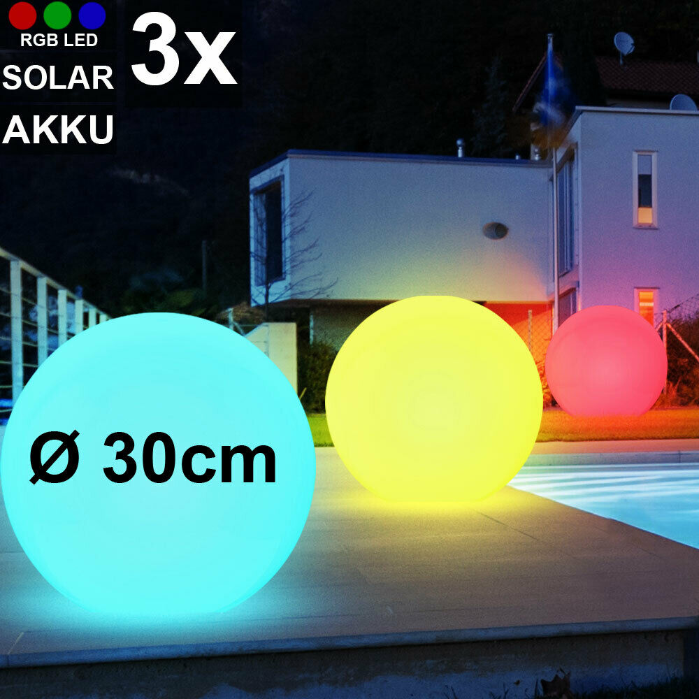 3er Set RGB LED Solar Steck Leuchten Farbwechsel Garten Kugel Hof Außen Lampen