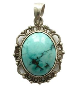 Sterling-Silber-ethno-asiatische-Vintage-Style-handmade-Tuerkis-Stein-Anhaenger-Geschenk