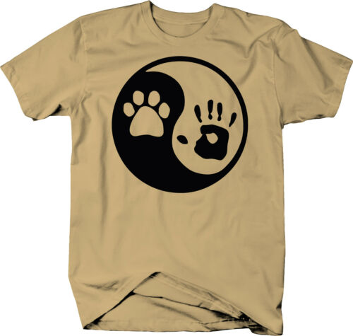Paw Hand Print Yin Yang Dog Animal Rescue Adopted Pet Lover  Color T-Shirt