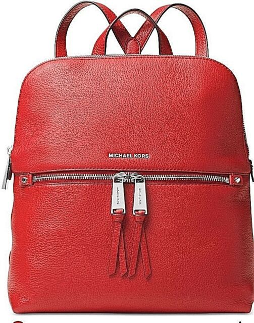 bcddec8fc472 🌺🌹Michael Kors Rhea Medium Slim Backpack Bright Red Original Packaging