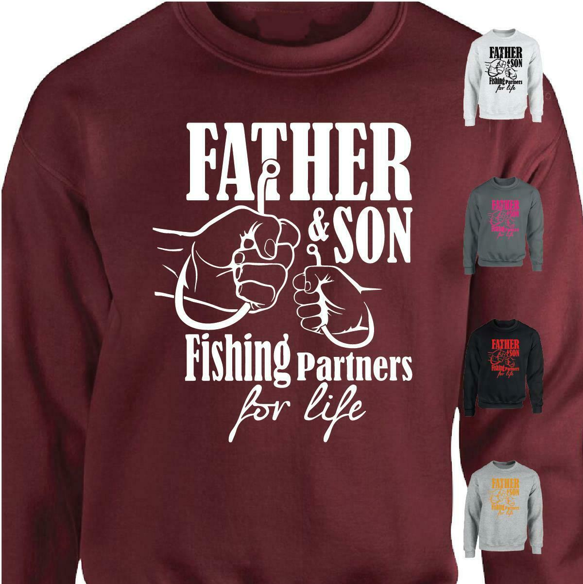 Father & Son Fishing Partners Mens Womens Jumper Funny Sweat Shirts Novelty Joke