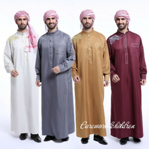bef42fa1acb Muslim Men s Eid Robe Islamic Clothing Thobe Dishdasha Saudi Hajj ...