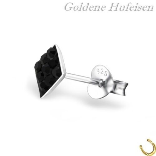 Señores individuales-pendientes cristal cruz rombo 925 real plata single xc067v