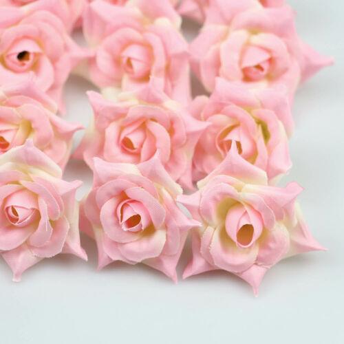 "20Pcs Artificial Silk 2/"" Fake Rose Flower Heads Bulk Craft Wedding DIY Decor"