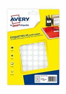 [Ref:PET15W] AVERY Sachet de 1536 pastilles Ø15 mm. Imprimables blanc