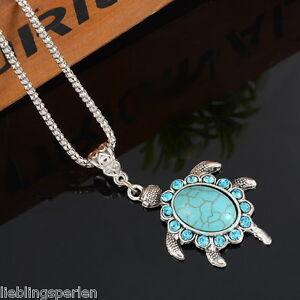 L-P-Boho-Halskette-mit-Schildkroete-Tuerkis-Anhaenger-Silberkette-Blau-Strass-47cm