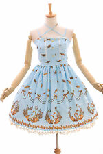 JSK-06-2 Blau goldener Schwan Pastel Gothic Lolita Kleid Stretch dress Cosplay
