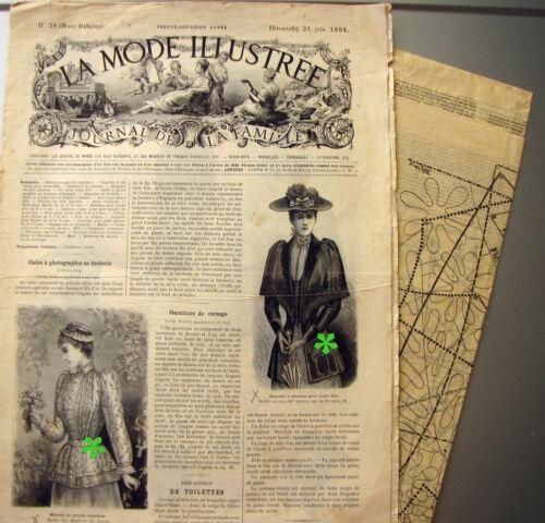 LA MODE ILLUSTREE n° 25//1891 Voir modèles à réaliser FRENCH PATTERN PATRON