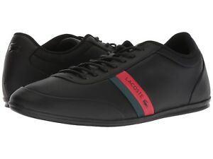 70c9c7c0f Lacoste Men Shoes Storda 318 1 Black Red Leather Casual Sneakers NEW ...