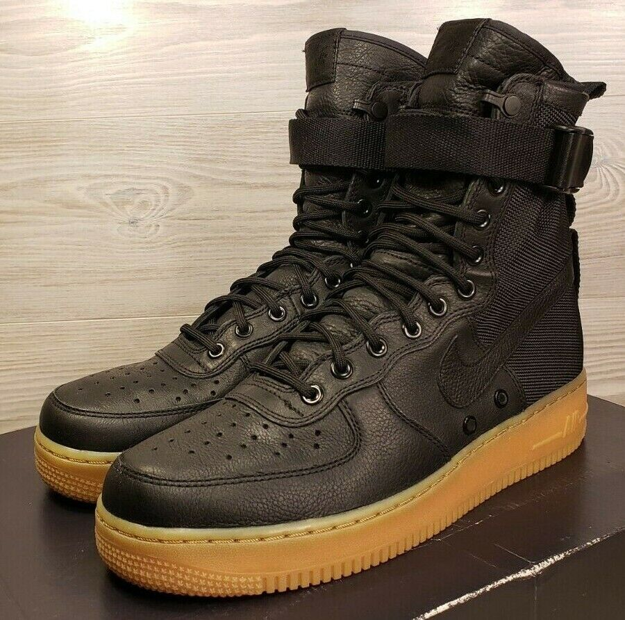 DS Nike SF AF1 Special Field Air Force Black Leather Sneaker 859202-009 Size 9.5
