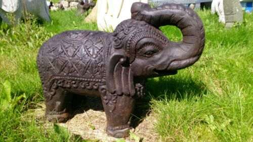 Grosser Elefant Steinfigur Lavastein Bali Statue massiv schwer Garten frostfest