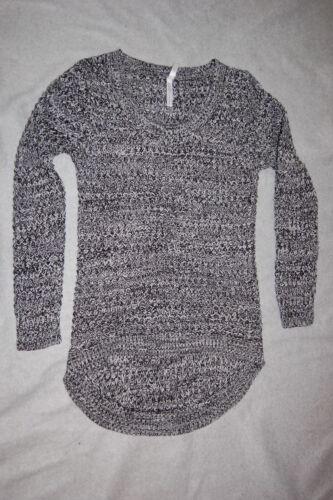 Womens Long Sweater BLACK WHITE TWEED Round Bottom S 4-6 M 8-10 1X 2X 3X
