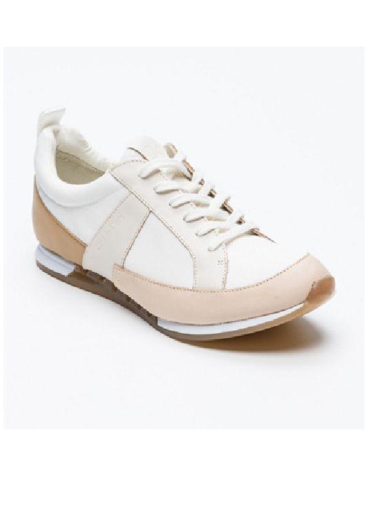 CALVIN KLEIN WEISS BEIGE LAZAR LEATHER TRAINERS Schuhe SIZE 7 40 NEU