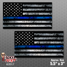 "Thin Blue Line Flag Sticker 2 Pack ""GRUNGE FACE RIGHT"" Police USA Vinyl Decal"