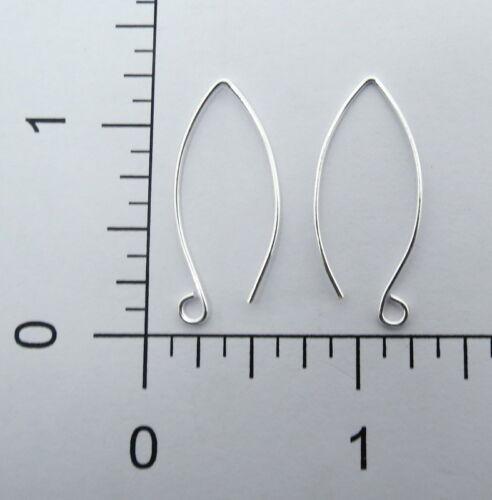 18 Pieces Earring Hooks Marquise Shape Bali Silver Ear Wire 30mm Long