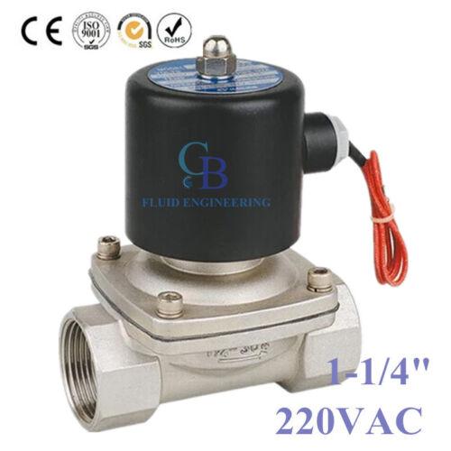 """AC220V 1-1//4/"""" BSP De Acero Inoxidable Válvula De Solenoide 304 Alta Temperatura NC"""
