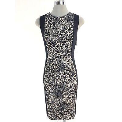Calvin Klein NWT Elegant BLACK/KHAKI Leopard print Scuba dress ,  10 16W 18W 20W