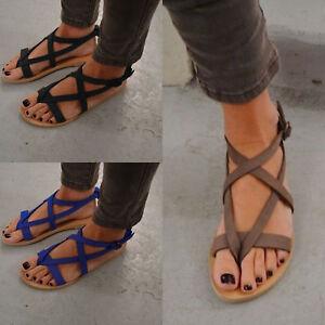 b55791ec55940 Image is loading Women-Bohemia-Flats-Open-Toe-Gladiator-Sandals-Summer-