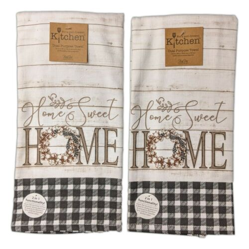Set of 2 HOME SWEET HOME Farmhouse Terry Kitchen Towels by Kay Dee Designs