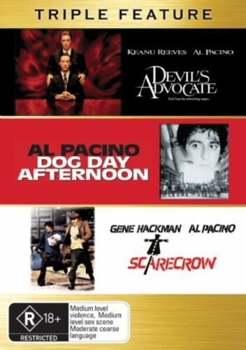 1 of 1 - Al Pacino..3 X DISCS..DEVIL'S ADVOCATE..DOG DAY AFTERNOON..SCARECROW..NEW  dvd84