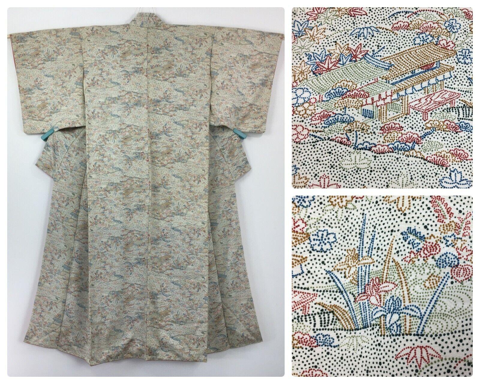 Japanese women's kimono, multicoloured silk, S-M, Japan import (AC2876)