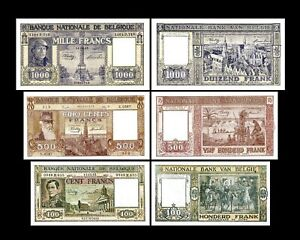 2x  100, 500, 1.000 Francs - Edition 1944 - 1950 - Reproduction - B 08