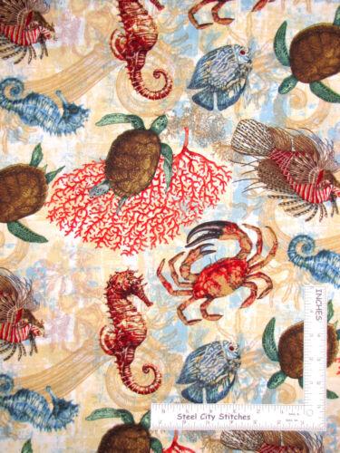 Aquarian Sea Ocean Fish Turtle Seahorse Cotton Fabric CP63332 Springs Yard