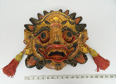Rare Beautiful Barang Wood Artisan Crafted Painted Mask Wall Art Hand Carved 1 Ebay