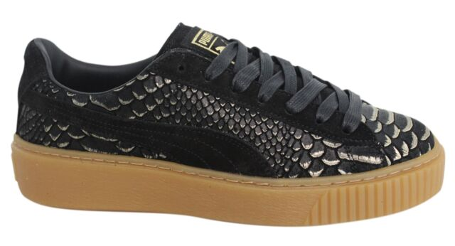 83b6425b8c1205 Puma Platform Exotic Skin Lace Up Womens Black Leather Trainers 363377 01  M11