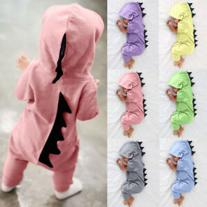 UK-Newborn-Baby-Boys-Girls-Kids-Dinosaur-Hooded-Romper-Jumpsuit-Clothes-Outfits
