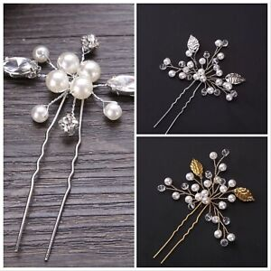 Silver-Gold-Pearl-Bride-Wedding-Flower-Hair-Pin-Stick-Diamante-Hair-Clip-Comb-UK