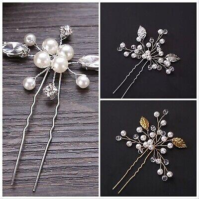 Argento/oro Perla Sposa Matrimonio Fiore Per Capelli Spilla Bastone Diamante Pettine Per Capelli Clip Uk-