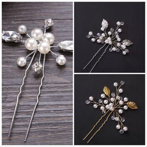 Argento//Oro Perla Sposa Matrimonio Fiore Per Capelli spilla bastone Diamante Pettine Per Capelli Clip UK