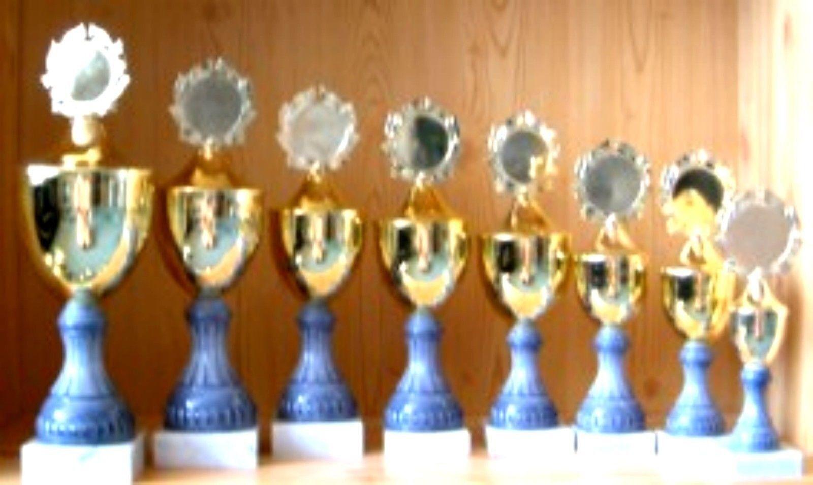 8 trofeos serie escalonados 24-38cm con emblema (trofeos vencedor grabado trofeo)  1654