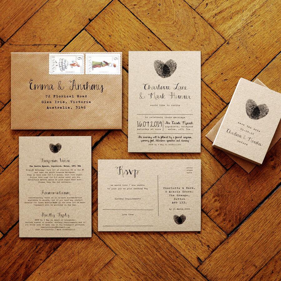 Fingerprint Calligraphy - Wedding Invitation - Rustic Kraft braun Card