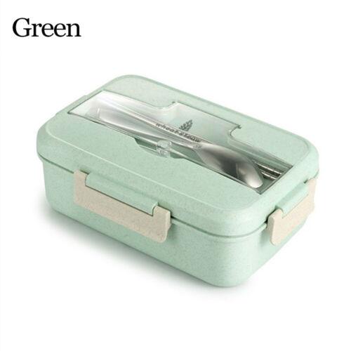 Portable Lunch Box With Spoon+Chopsticks Wheat Straw Dinnerware Food Storage