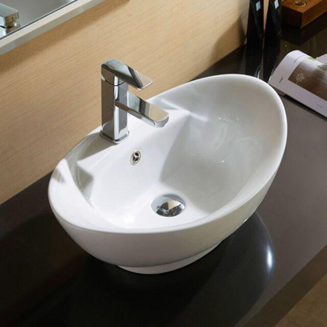 Bathroom Oval Vessel Sink Vanity Countertop Basin White Porcelain Ceramic Bowl