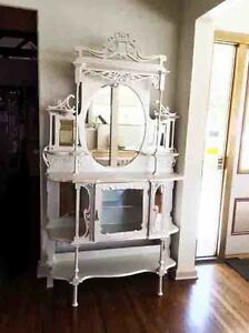 Image Is Loading Pearl White Wood ORNATE Antique ETAGERE Open Display