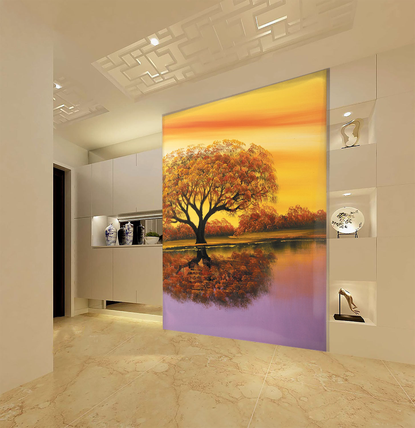 3D Riverside Tree 51 Wall Paper Wall Print Decal Wall Deco Indoor AJ Wall Paper