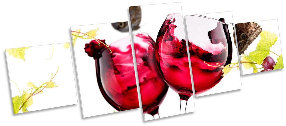 Vin papillon cuisine floral multi toile murale art photo box frame