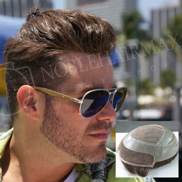 Mens Toupee French Lace Front Hair Replacement System Hairpieces Mono Base #5