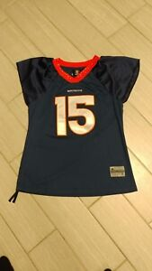 new style e42c1 3392a Details about Team Apparel Reebok Wmens Bronco Tebow Jersey With Sinching &  Rhinestones Sz L