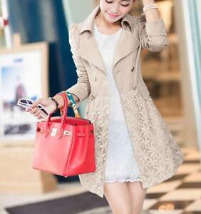 boutonnage coat pour mélangé longue Veste trench coton femmes veston Lady et en double en IUxqgw8v