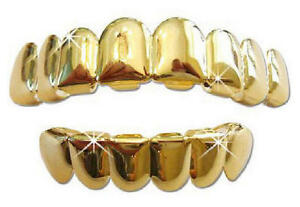 Hip-Hop-14K-Gold-GP-Mouth-Teeth-Grills-Grillz-8-Top-6-Lower-Set-Player-II-USA