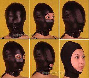Halloween-Party-Lycra-spandex-zentai-accessories-metallic-black-Mask-Hood